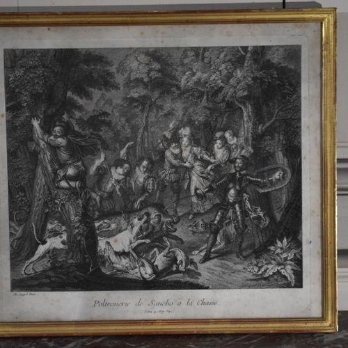 D'après Charles Antoine COYPEL (1694 1752)  Poltronerie de Sancho à la chasse  G…