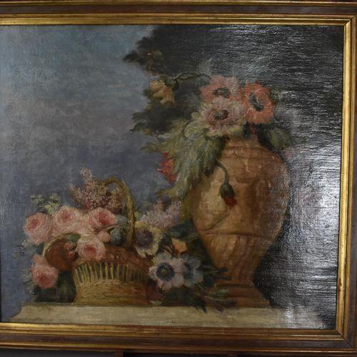 École FRANÇAISE du XIXe siècle  Nature morte  Huile marouflée  59,5 x 68 cm