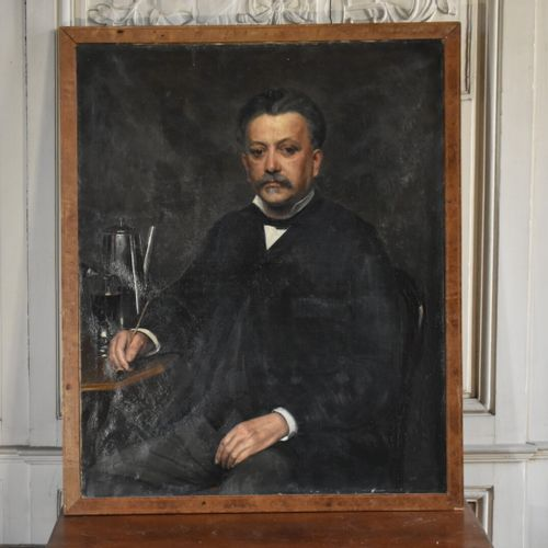 Ecole française du XIXe siècle  Portrait d'homme à la pipe  Huile sur toile  100…