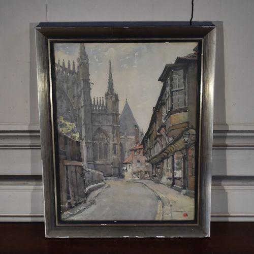 MARC (?)  Vue d'une ruelle  Lithographie  40 x 30 cm
