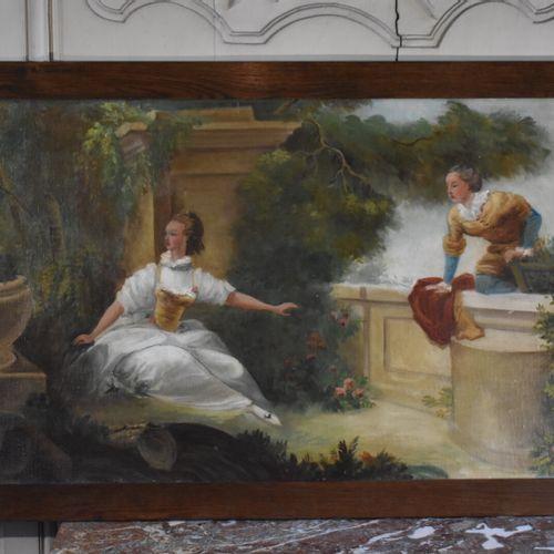 Ecole française du XIXe siècle, dans le goût de Boucher  Scène galante  Huile su…