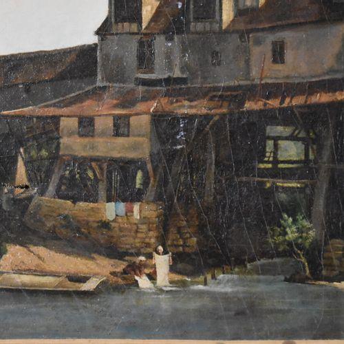 Ecole française du XIXe siècle  Les blanchisseuses  Huile sur toile  41 x 61 cm …