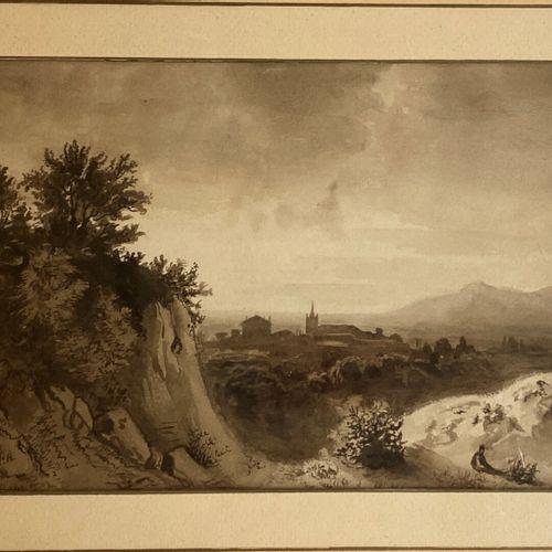 Ecole FRANCAISE vers 1840  Paysage rocheux, un village au loin  Lavis noir et br…