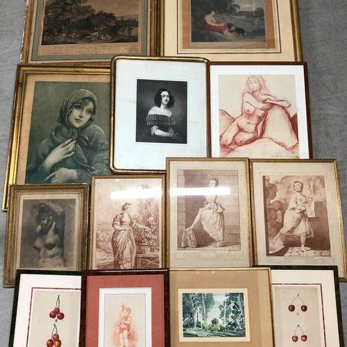 Fort lot de gravures diverses dont deux dans des cadres en bois en fruitier scul…