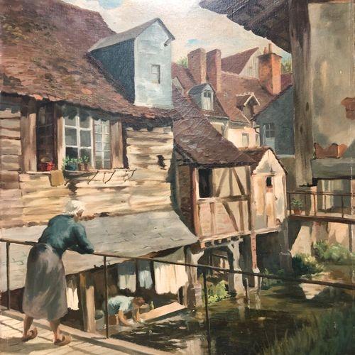 Ecole du XXe siècle  Le lavoir sous le pont  Huile sur toile, porte une signatur…
