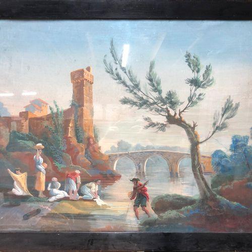 Ecole du XIXe siècle  Lavandières devant le pont et château  Gouache sur papier …
