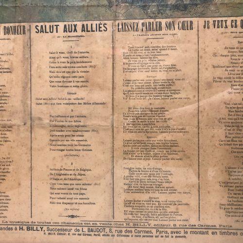 Gloire et châtiment  Affiche de quatre chansons illustrées  77 x 54 cm (état moy…