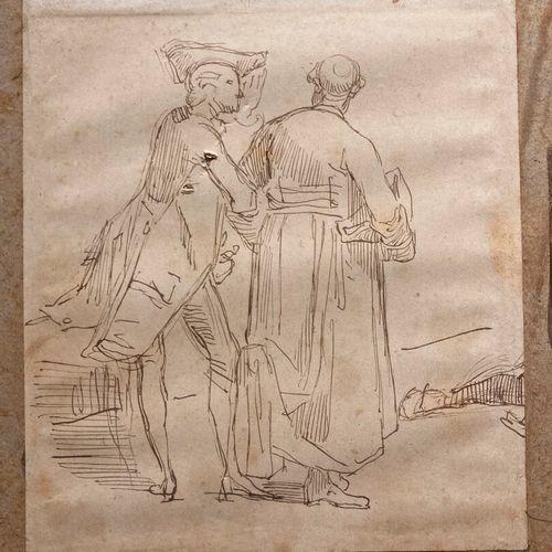 Ecole FRANCAISE du XIXème siècle  Un gentilhomme et un prêtre de dos  Plume et e…