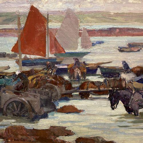 Henry Maurice CAHOURS (1889 1974)  Le ramassage du goemon  Huile sur panneau  36…