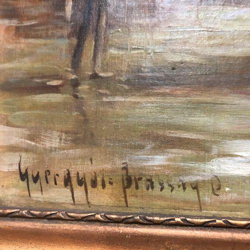 Ecole d'Europe de l'Est  Les lavandières  Huile sur toile signée en bas à gauche…