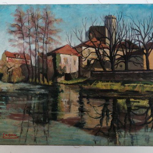 Lot de toiles: 4 paysages huile sur toile, deux portraits, un chromo montagne, u…