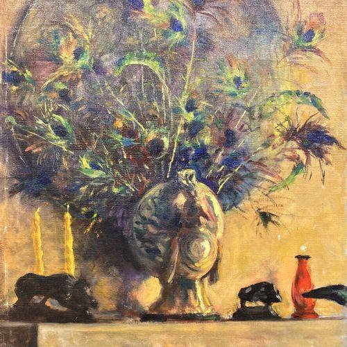 MORENTZ (XXe siècle)  Nature morte au vase et plumes de paon  Huile sur toile si…