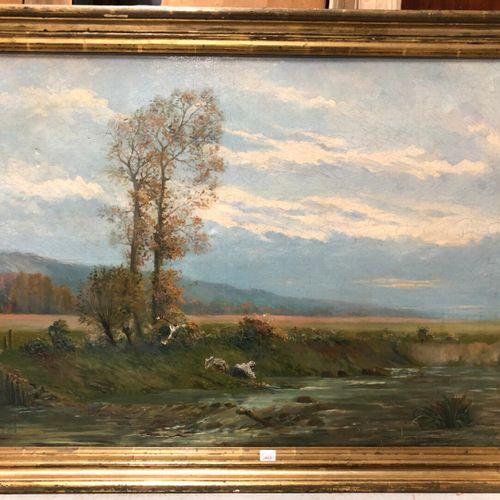Louis CHAZAL (XXe siècle)  Lavandières au pied des grands arbres  Huile sur toil…
