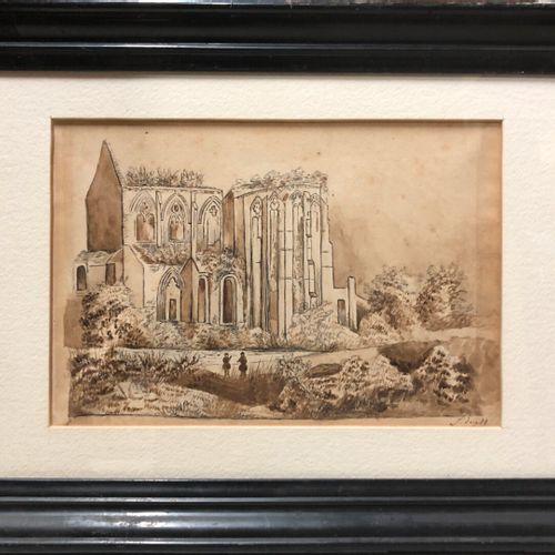 Ecole romantique  Ruines d'église  Encre et lavis sur papier, trace de signature…