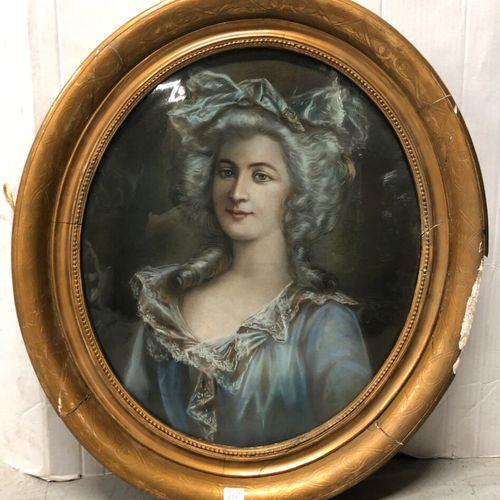 Ecole moderne dans le goût de la fin du XVIIIe siècle  Portrait de femme à la ro…
