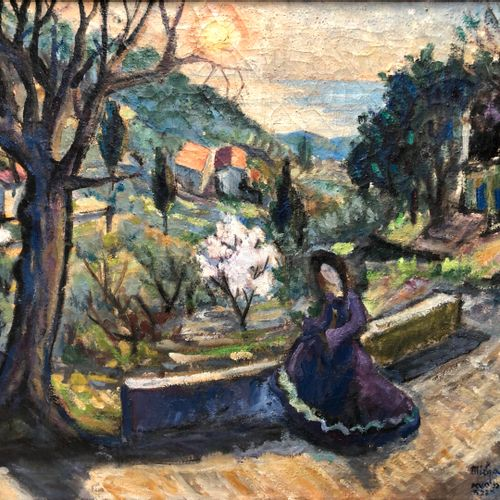 Ecole Moderne  Femme assise sur la corniche  Huile sur toile, trace de signature…