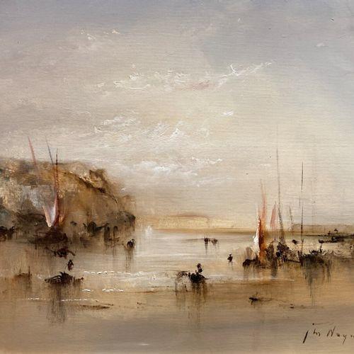 Jean Michel NOQUET (1950 2015)  Bord de mer  Huile sur toile  36,5 x 44,5 cm