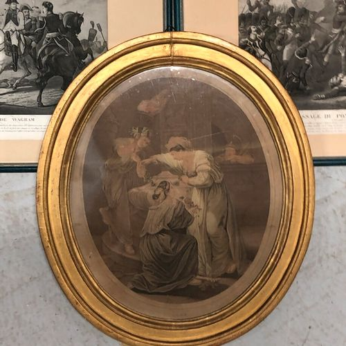 Batailles de Napoléon  Cinq estampes en noir encadrées    Ecole anglaise  The Mo…