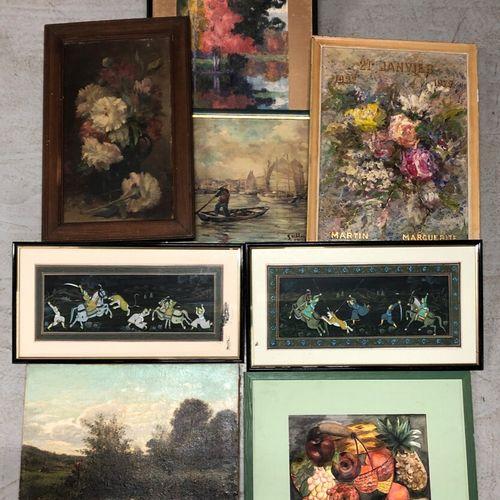 XIXe et XXe siècles  Ensemble de tableaux, gravures, aquarelles, tels que paysag…