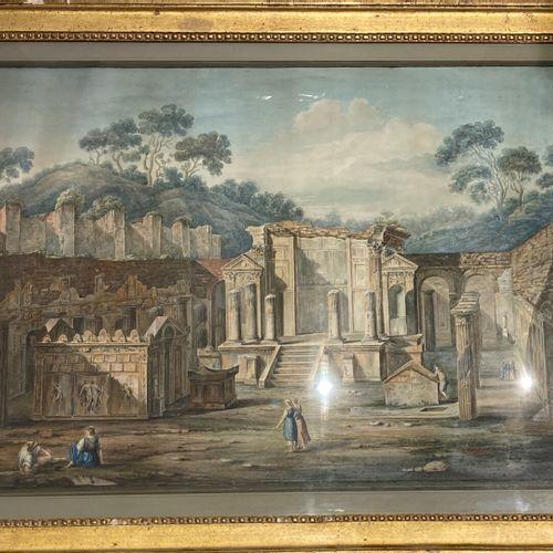 Ecole FRANCAISE vers 1800, entourage de Louis François CASSAS  Le repos des pays…