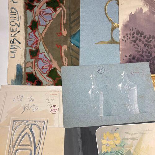 Lot de dessins études de motifs décoratifs