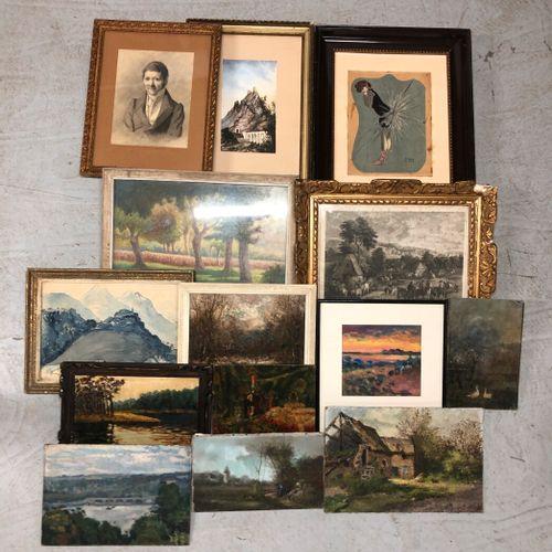 Ensemble de pièces encadrées, huiles, aquarelles telles que paysages, nature mor…