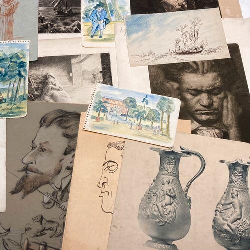 Lot de dessins divers et gravures