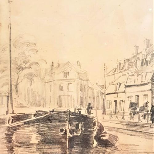 ECOLE FRANCAISE  Entrée des eaux à Douai  Dessin au crayon signé en bas à droite…