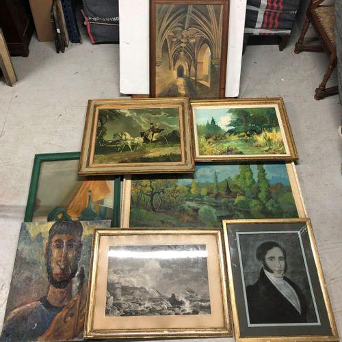 Ensemble de tableaux, de reproductions de tableaux, huiles, paysages, gravures, …