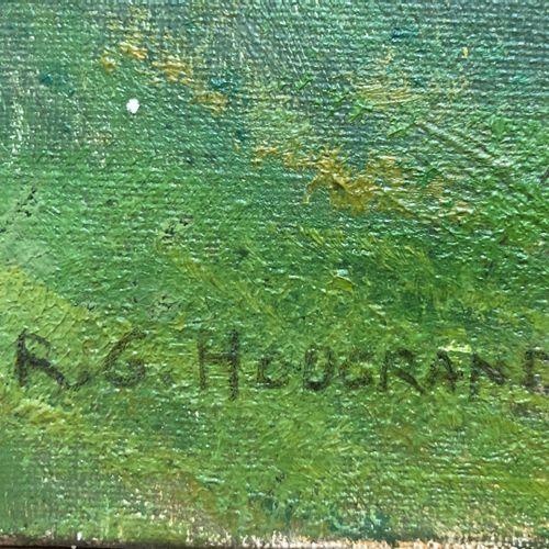 Gaspard HOUGRAND (1897 ?)  L'ombre des arbres en montagne  Huile sur toile signé…