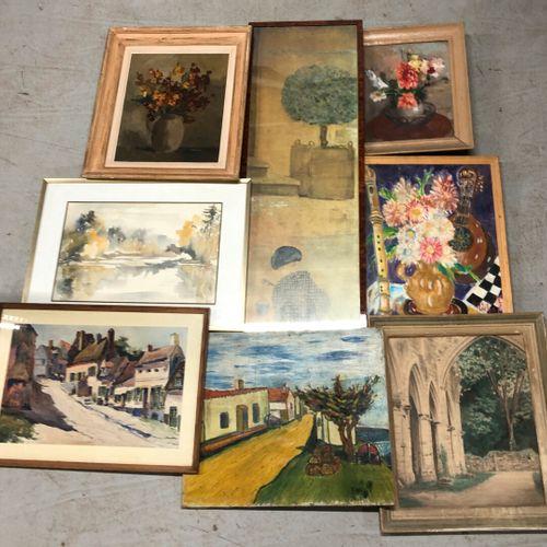 Ensemble de tableaux et encadrés divers : huiles et aquarelles, gravures et repr…