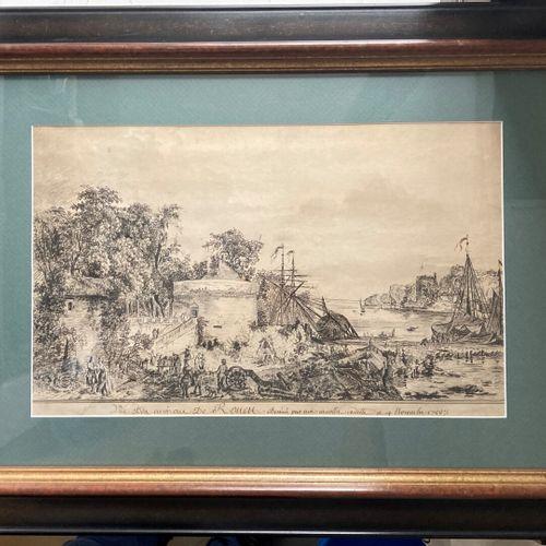 Les environs de Rouen  Estampe  27 x 44 cm (taches)