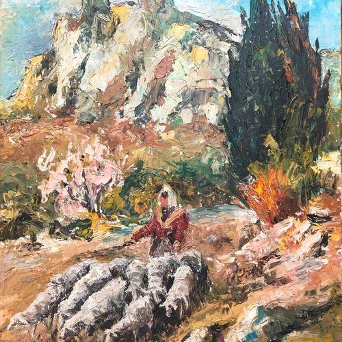 Jean CHABOUDE (att. À)  Gardienne de troupeau devant la montagne  Huile sur toil…