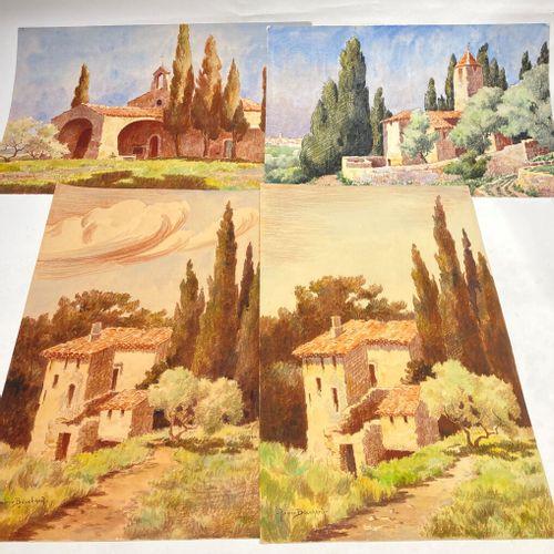 Andrée BOUCHARD  4 dessins divers sur trois feuilles paysage et étude végétaux
