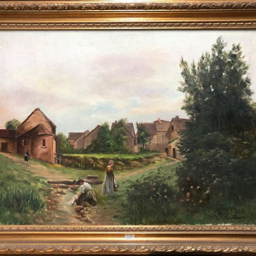 John Young HUNTER (1874 1955)  Les lavandières près d'un village  Huile sur toil…