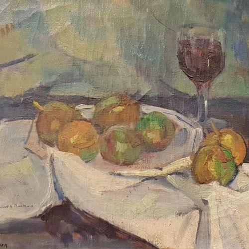 Robert Antoine PINCHON (1886 1943)  Nature morte pommes et verre de vin  Huile s…