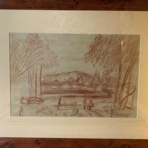 Ecole FRANCAISE vers 1900  Paysage aux arbres  Sanguine  23 x 43 cm