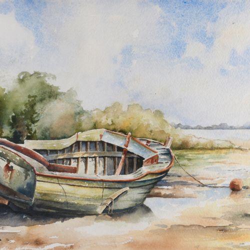 Ecole Française, XIXème siècle  Barque à marée basse  Aquarelle signée en bas à …