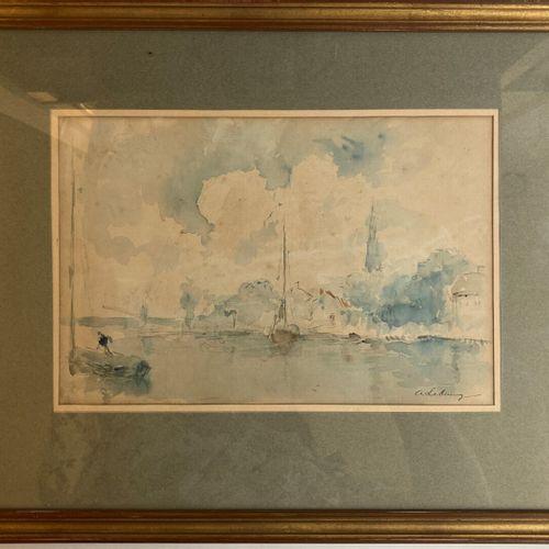 Albert LEBOURG (Montfort sur Risle 1849 Rouen 1928)  Bâteaux de pêcheurs au port…