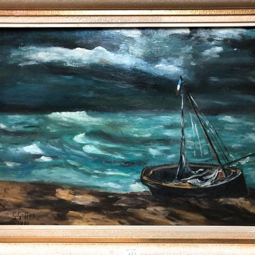 G. GRIFFON (XXe siècle)  Barque sur la plage  Huile sur carton signée et datée 1…
