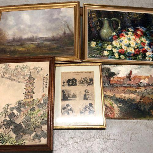 Ensemble de pièces encadrées dont huiles, aquarelles, pastels et gravures tels q…
