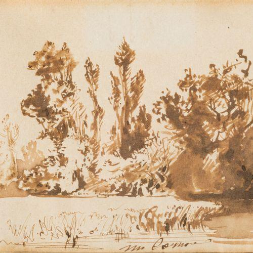 Paul HUET  (Paris 1803 1869)  Paysage à la rivière et aux grands arbres  Plume e…