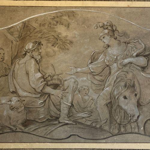 Ecole FRANCAISE du XVIIIème siècle, suiveur de Charles Joseph NATOIRE  Herminie …