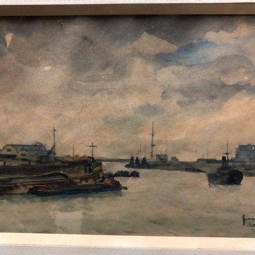 Fernand DECAIX (1901 1974)  L'entrée au port (Le Havre ?)  Aquarelle sur papier …