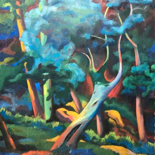 """Ecole Moderne  Les arbres fauves  Huile sur toile signée """"DEK 47"""" en bas à gauch…"""