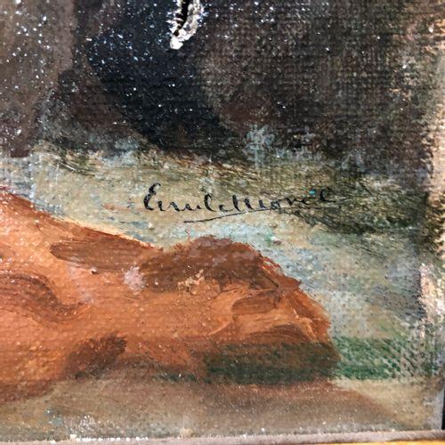 Ecole Moderne  Nu alangui devant la côte rocheuse  Huile sur toile signée en bas…