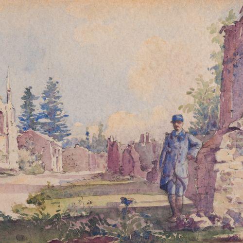 """T. GRANVAL (XXème siècle)  Deux aquarelles """"Arques 1915"""" et Officiers dans les r…"""
