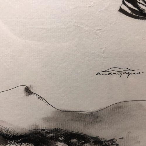 André JAQUET  Trois études  Encre et lavis sur papier, signé au centre  29 x 39 …