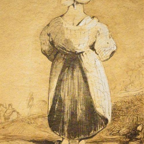 Antoine Alphonse MONTFORT  (Paris 1802 1884)  Petite paysanne de dos  Plume et e…