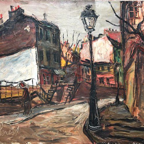 Ecole française du XXe siècle  Personnages dans la rue  Huile sur toile, porte u…